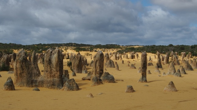 Der Pinnacles Nationalpark, das ist eine der berühmtesten Sehenswürdigkeiten Westaustraliens. Die Kalksteinformationen sind im Laufe von tausenden Jahren entstanden, allein durch das Zusammenspiel von Regen, Wind und Sonne. Man kann auf einer Sandpiste hindurchfahren, nur draufstellen darf man sich nicht. Sie bieten unendlich viele Fotomotive, hier nur zwei Beispiele.